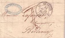 COTE DU NORD-QUINTIN T12 31-7-1834 + TAXE 8-LETTRE AVEC