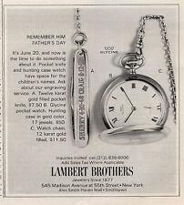 1971 Lambert Brothers Glycine Pocket Watch Pocket Knife Great  PRINT AD