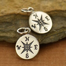 925 Sterling Silver Compass Charm Necklace Graduation Gift Travel 832