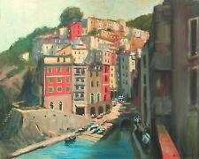 Well Listed Nino Pippa Original Oil Painting Fishing Village Italy 24X30 COA