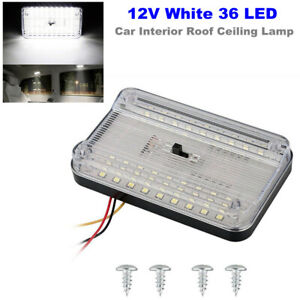 12V White 36 LED Car Interior Roof Reading Lamp Ceiling RV Trunk Light w/ Switch
