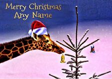 GIRAFFE FUN CHRISTMAS CARD  Personalised in and out  Illustrated insert
