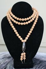 "Large 108 10mm Rudraksha Bodhi Seeds Prayer Beads Mala Necklace 42"" w 9-eye dZi"
