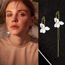 White Flower Asymmetric Earrings Gold Painted Long Chain Hoop Earrings Fashion