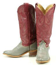 Acme Women's Raspberry & Gray Tall Western Cowboy Boho Boots Vintage US Made 7.5