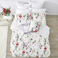 RARE TED BAKER LONDON HEDGEROW KING COMFORTER 2 SHAMS SET WHITE RED POPPY FLOWER