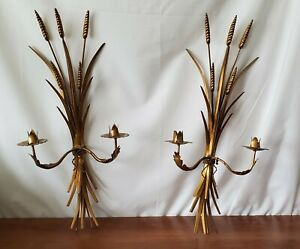 Salvadori Gold Hollywood Regency Italian Wheat Sconce Pair Metal Candle Holders