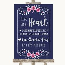 Navy Blue Pink & Silver Sign a Heart Personalised Wedding Sign