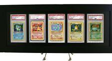 Pokemon Card Frame/Display w/ FIVE PSA Graded Card Openings-Black Design