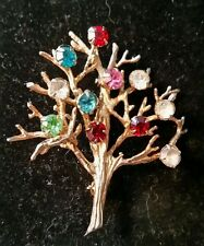 DCE Sterling Silver 925 Vintage Brooch Fruit Salad Rhinestone Tree signed.