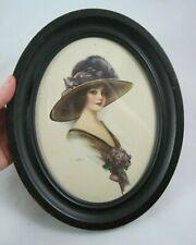Vintage 1912 J. Knowles Hare Print Oval Metal Frame Girl Purple Hat Ohio Art Co