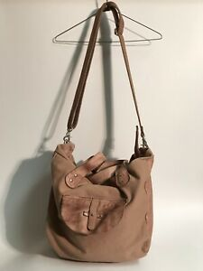 Free People Pink Leather Duffel Canvas Boho Hippie Bag Large Purse
