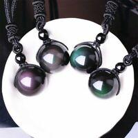 Obsidienne Collier Arc En Ciel Oeil Perle Pendentif Naturel Pierre Boule Cristal