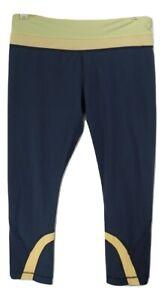 lululemon Womens Capri Workout Yoga Pants Yellow Navy Blue Waist Sz 8