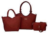 BeautyFaves Womens Fashion 3 Pc Handbag Set Tote/ Shoulder Bag/Clutch/Cosmetic
