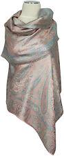 Pashmina Seidenschal Rose Hellblau 100% Seide, silk scarf soie écharpe foulard