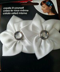 Simplicity white satin flowers/gem headband decor