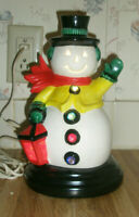 Vintage Holiday Ceramic Snowman Lighted Figurine Holds Lantern Waves