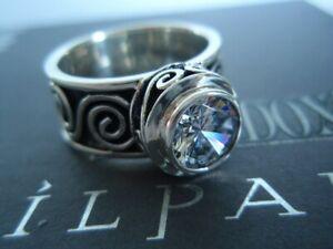 SILPADA RARE Sterling Silver 925 Scroll Bezel Cubic Zirconia CZ Ring Sz 9 R1233