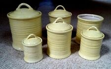 11pc VINTAGE CONTEMPORARY YELLoW + BLACK Speckles CERAMIC CANISTER Set + UTENSIL