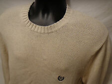 Mens Chaps Ralph Lauren Beige Crewneck Pullover Sweater Sz M 100% Cotton