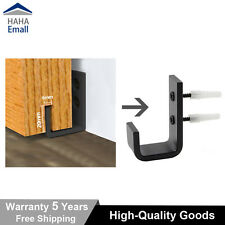 Black Steel Barn Door Hardware Sliding Bottom Floor Guide Wall Guide With Screws