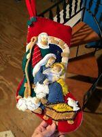 Vintage Handmade Nativity Christmas Stocking