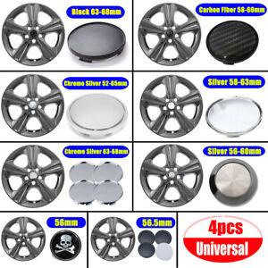 4x 56/60/63/65/68mm Car Wheel Center Hub Caps Cover Silver Black Accessories