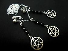 A TIBETAN SILVER PENTAGRAM THEMED NECKLACE AND  CLIP ON EARRING SET. NEW.