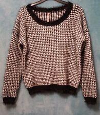 SWEEWE Ladies Sweater S/M Short Black White Eye Lash Fringe Chunky Metallic Soft