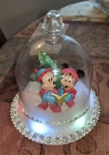 Disney MICKEY MINNIE MOUSE GEMMY MUSICAL LIGHTED GLOBE LIGHTS UP CAROLS CAROLING