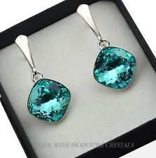 925 SILVER EARRINGS MADE WITH SWAROVSKI CRYSTALS FANCY STONE - LIGHT TURQUOISE