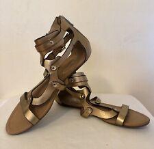 Report Signature Lastro Gladiator Sandal Leather Gold Zip Heel Open Toe Size 8.5