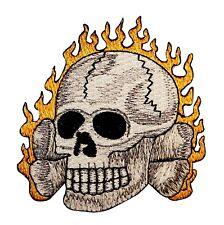Skull & Crossbones Flames Embroidered Iron On Biker Badge Applique Patch P3528