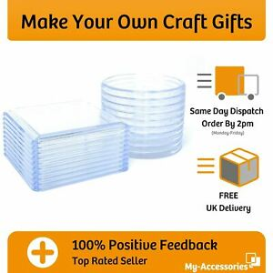 Craft Coaster Blank Clear Acrylic Square Or Round 80mm Insert Make Your Own DIY