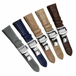 Geckota Edwyn Genuine Leather Watch Strap with Deployment Buckle 20mm or 22mm