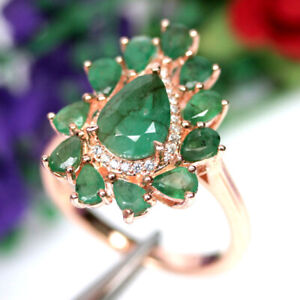 NATURAL 7 X 9 mm. GREEN EMERALD & WHITE CZ RING 925 SILVER STERLING SZ 9