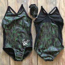 NWT GK Elite Laurie Camo Green Black Strappy Gymnastics Leotard Child Small 4-6