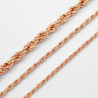 2/3/5mm Fashion Jewelry Rope Twisted Link Chain 18K Rose Gold Filled Necklace