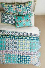 NWT ANTHROPOLOGIE ZIGON QUEEN TILEWORK HOTHOUSE QUILT + SET OF 2 STANDARD SHAMS