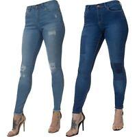 APT Designer Womens Skinny Jeans Ladies Distressed Super Stretch Slim Fit Denim