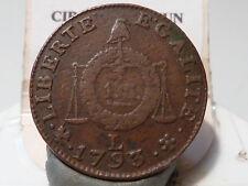 CIRA(13) (9) - CONVENTION - SOL AUX BALANCES - 1793 L - DATE DOUBLEE ! RARE !