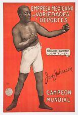 "1910's Jack Johnson original antique Spanish advertising poster 13"" x 20"" boxing"