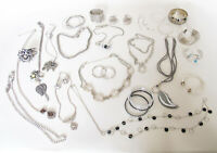 Vintage & New Custom Jewelry Mixed Lot 20 Pieces Or More Silver Tone
