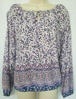 Lucky Brand Womens Knit Top Shirt XS Purple Blue Floral Long Sleeve Boho Keyhole