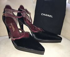 Chanel Point Toe Platform Two Tone Strappy Velvet Heels Burgundy Pumps