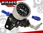Water Filled Gauge + Black Adjustable Fuel Pressure Regulator Assembly 0-140Psi