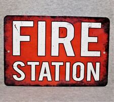 Metal Sign FIRE STATION department brigade rescue engine firefighter volunteer