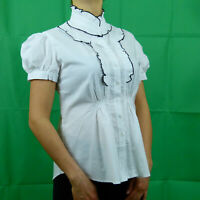 White Black Formal Cotton Victorian Steampunk Short Sleeve Shirt 8 10 12 14 16