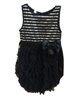 NEW Biscotti Girl's Satin & Tull Dress w/ Silver Sequin Stripes - BLACK
